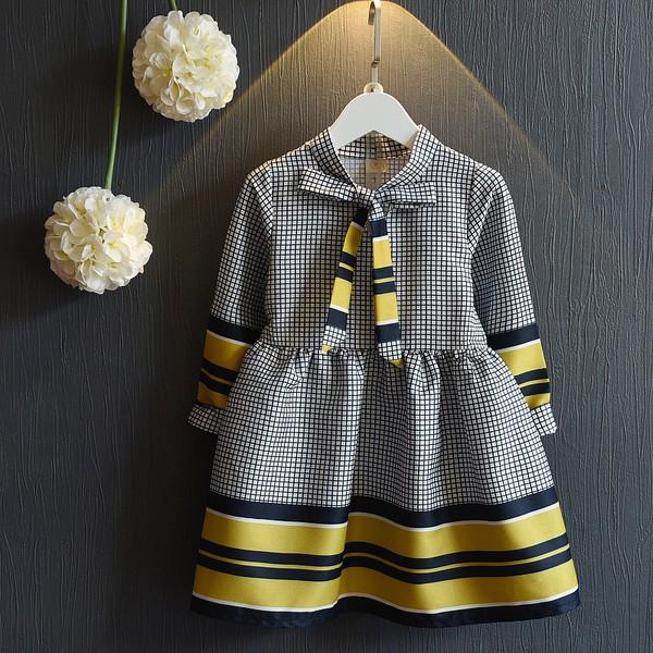 ~女童秋款824 ~氣質格子收腰大擺褶皺甜美連衣裙