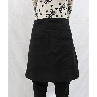 黑色短圍裙黑色圍裙半截圍裙四口袋圍裙素色圍裙飲料學校餐廳單邊繩長100cm ~樂樂的祕密基