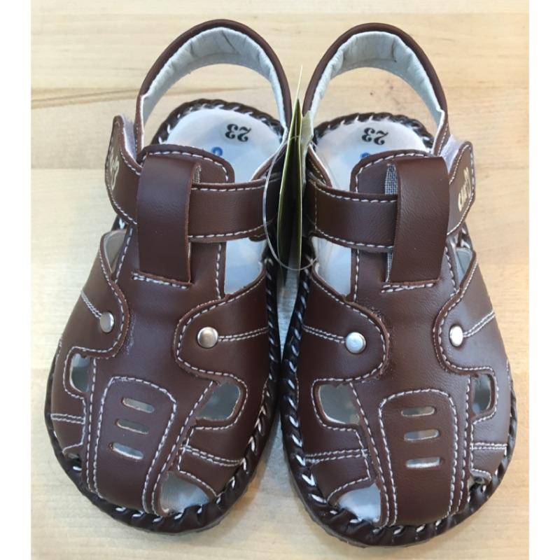 換季 OWEN  天鵝童鞋恰恰兔CHACHATWO 棕色羅馬護趾兒童涼鞋全真皮