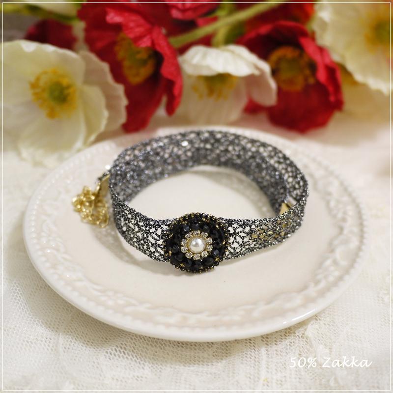 FZ 正韓華麗黑色寶石圓牌金蔥蕾絲短項鍊