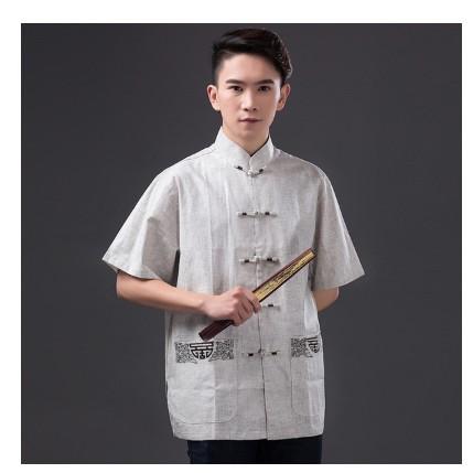 J201888 款中國風中老年男式漢服襯衫文藝青年短袖上衣複古亞麻唐裝