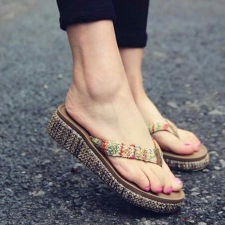 S36 海邊渡假防滑沙灘鞋人字拖厚底夾腳拖鞋拖鞋坡跟涼拖鞋