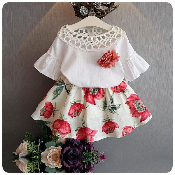 ❤Happy Mall ❤女童套裝2016  上衣裙子二件組附胸花3 色531556284