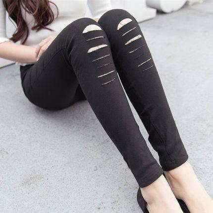 破洞打底褲外穿緊身女褲九分黑褲女士秋款薄款大碼小腳長褲潮