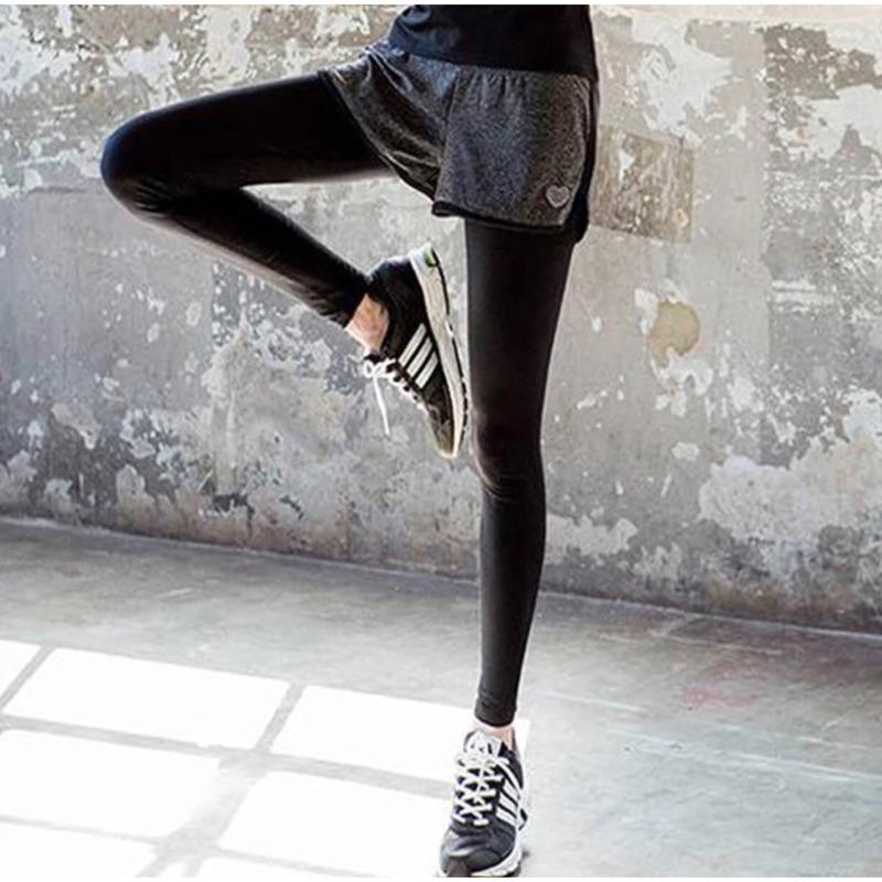 [隨心所欲]彈力女款 短褲假兩件瑜珈褲慢跑短褲休閒健身緊身長褲