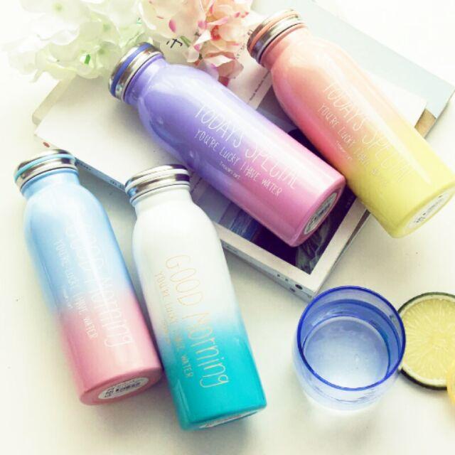 美呆了牛奶瓶漸層色漸變色保溫杯保溫瓶水壺450ml 水杯韓國