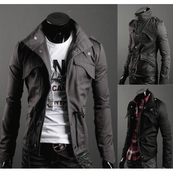 (立領夾克外套)多口袋夾克外套機車外套夾克素面休閒外套素色軍外套軍裝外套風衣外套情侶外套~
