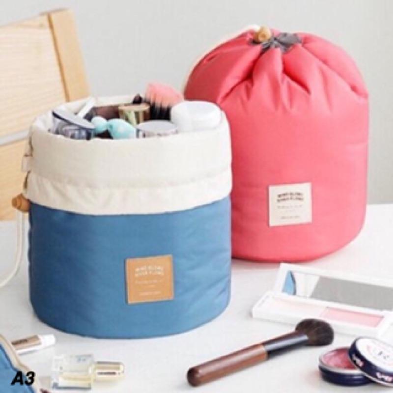 新品韓國圓筒式大容量分層防水化妝包收納袋