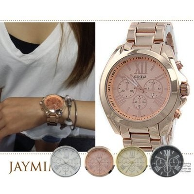 暢銷款 金屬仿三眼金色羅馬數字 手腕錶玫瑰金VIVI 雜誌 款男女中性款