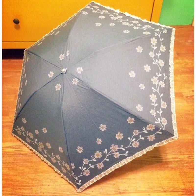 灰色咖花布面輕便晴雨傘~ 抗uv 遮光勾勾傘