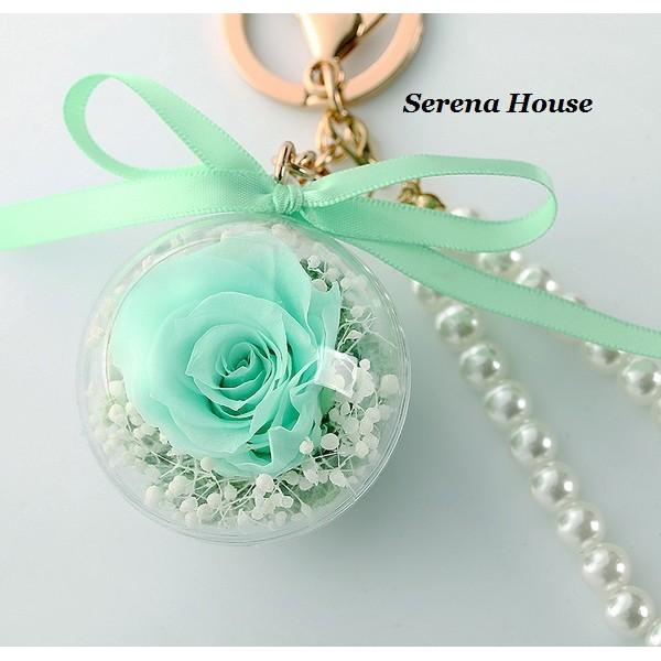 Serena House 不凋花永生花小王子美女與野獸薄荷綠色玫瑰花吊飾鑰匙圈婚禮小物