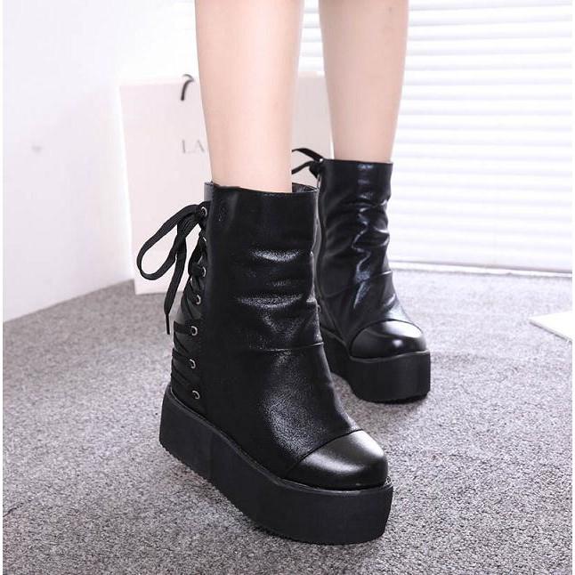 靴子女2016 秋 坡跟靴10cm 厚底內增高后交叉綁帶短靴馬丁靴