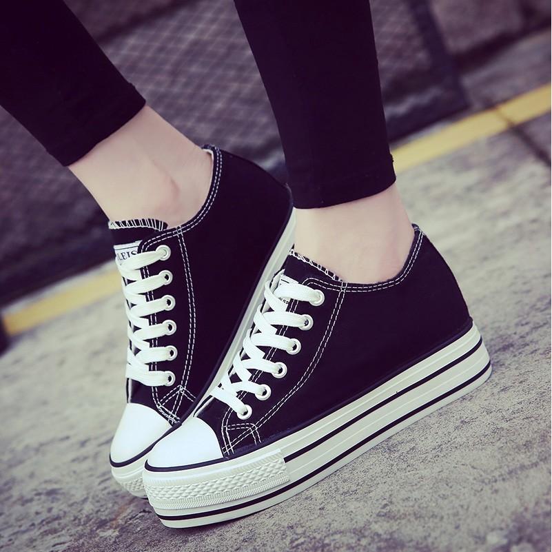春夏白色厚底內增高帆布鞋女板鞋 學生松糕鞋 鞋小白鞋女鞋娃娃鞋豆豆鞋休閒鞋懶人鞋
