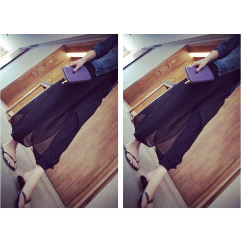 ✨寬鬆黑紗拼接雪紡哈倫顯瘦小腳休閒褲