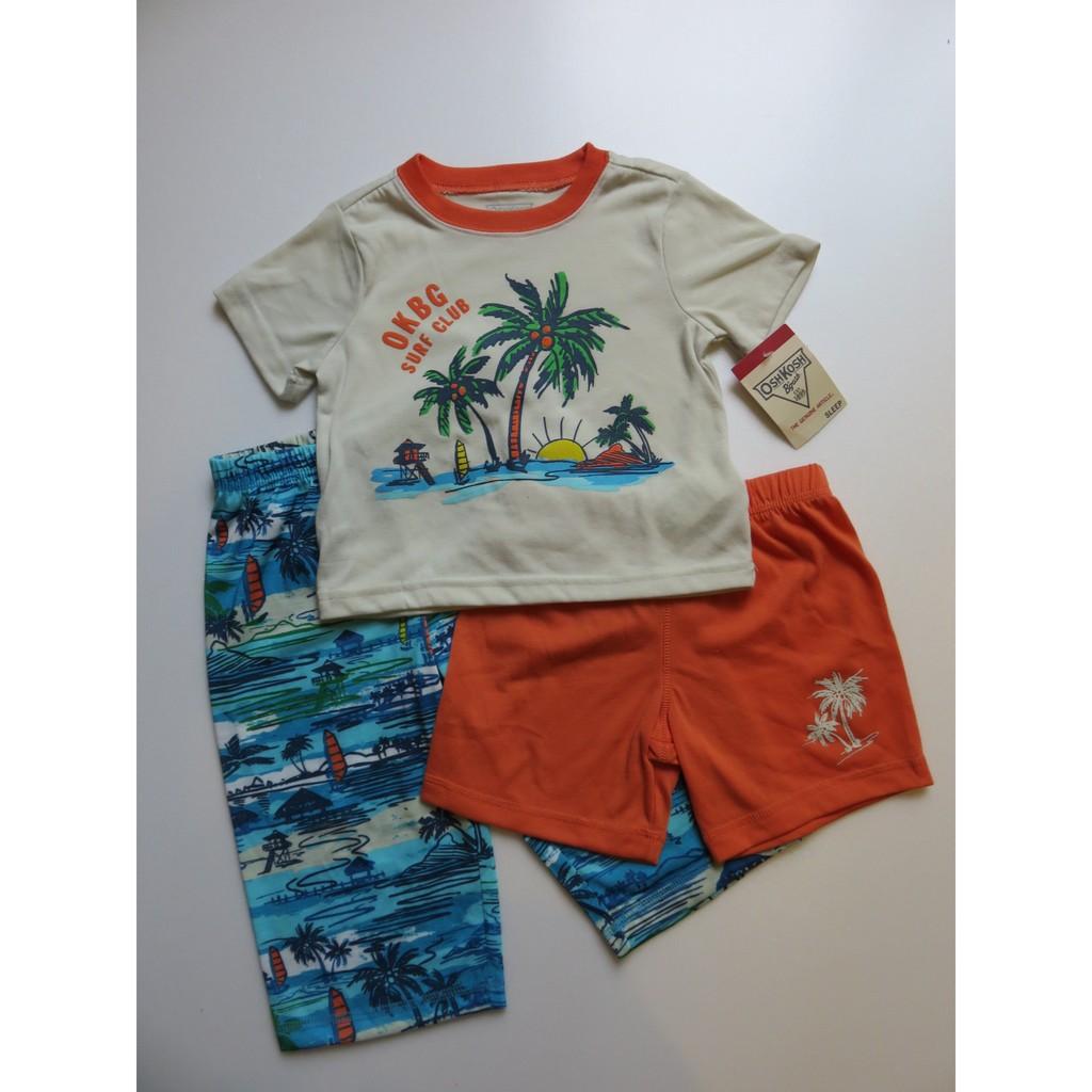 美國正品Oshkosh 小童短袖T 恤長短褲3 件組海島風size 12M 18M