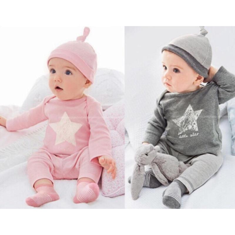 曈曈Baby 外貿 星星嬰兒套裝純棉ins 男寶寶女寶寶套裝三件套帶帽子