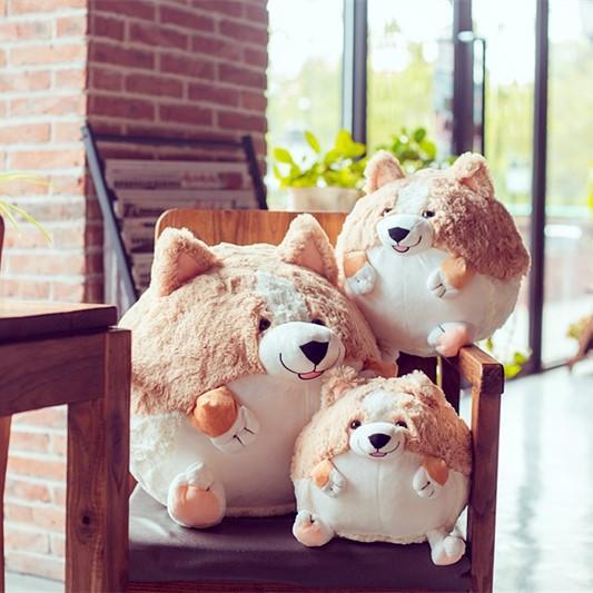 柯基犬球形抱枕兒童 生日 公仔柯基周邊玩具毛絨玩偶