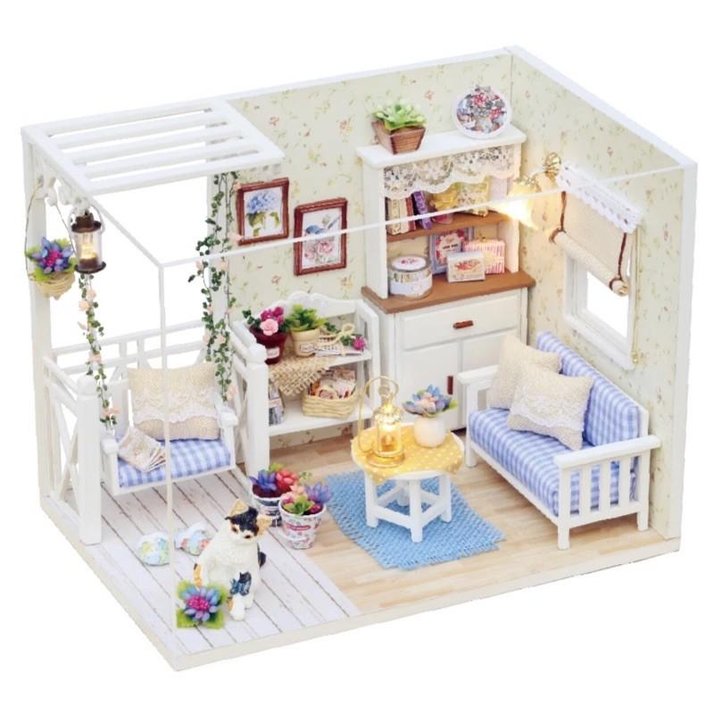 [A 027 小貓日記DIY 手作小屋  !DIY 手作小屋!袖珍屋娃娃屋! 藝模型屋