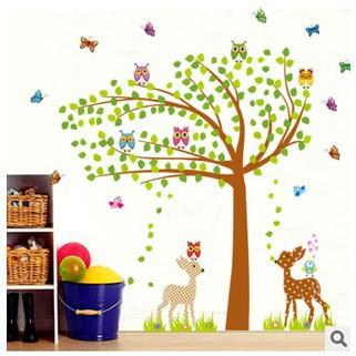 卡通貓頭鷹鹿壁畫牆貼壁紙家居裝飾