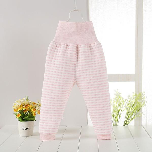 天然純棉嬰兒 厚鋪棉保暖高腰護肚褲條紋粉