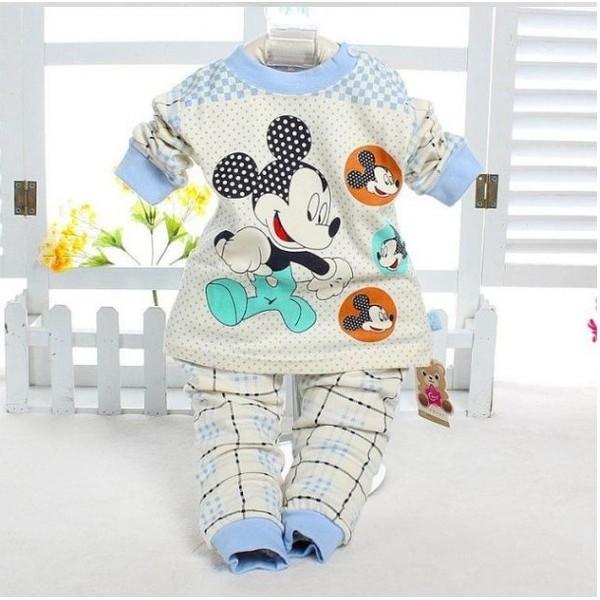 夾棉加厚保暖套裝居家服睡衣寶寶兒童男童女童米奇 夾棉長袖套裝
