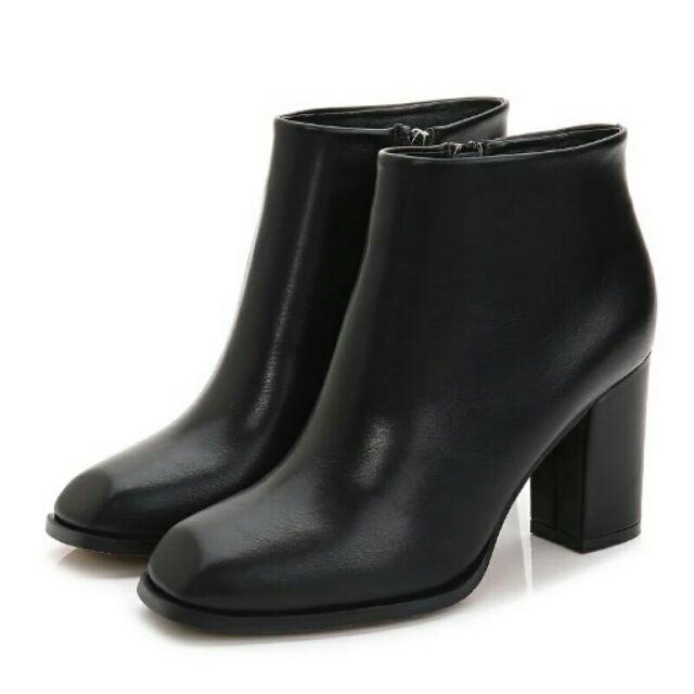 真皮 街拍風格 方頭粗跟短靴踝靴真皮 牛皮極簡約側拉鏈尖頭絨面磨砂皮 顯瘦低跟中跟高跟切爾