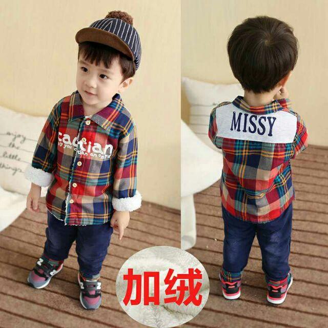 2 件套裝~ 男童 套裝男中小童寶寶襯衫t 恤長褲兩件套裝加厚加絨