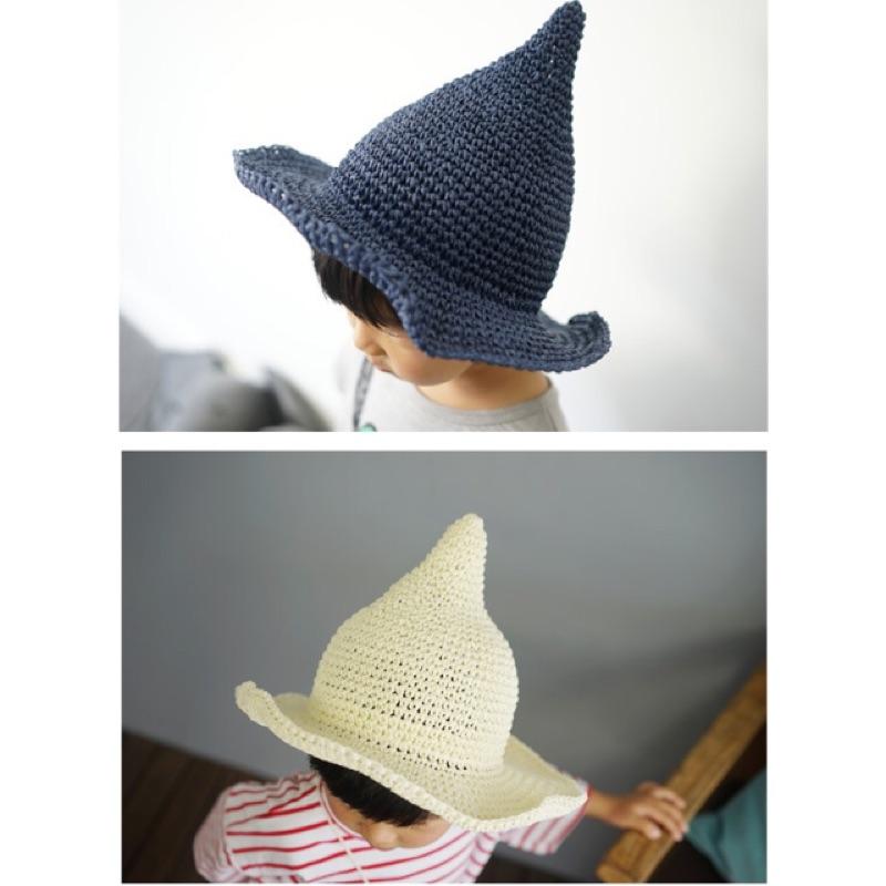 韓國超萌男女童春夏純 編織草帽遮陽海灘帽奶嘴帽尖尖帽子海邊沙灘