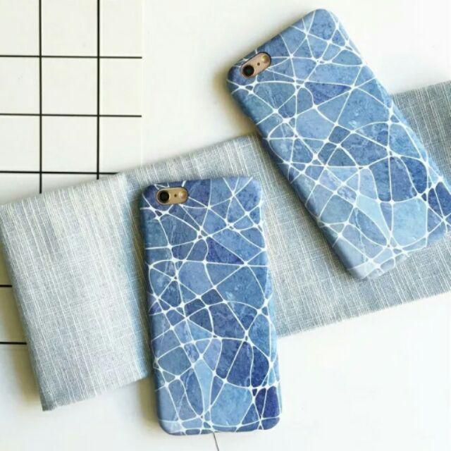 清新簡約抽象靜謐藍大理石紋磨砂手機殼iPhone6 i6plus i6s i6splus