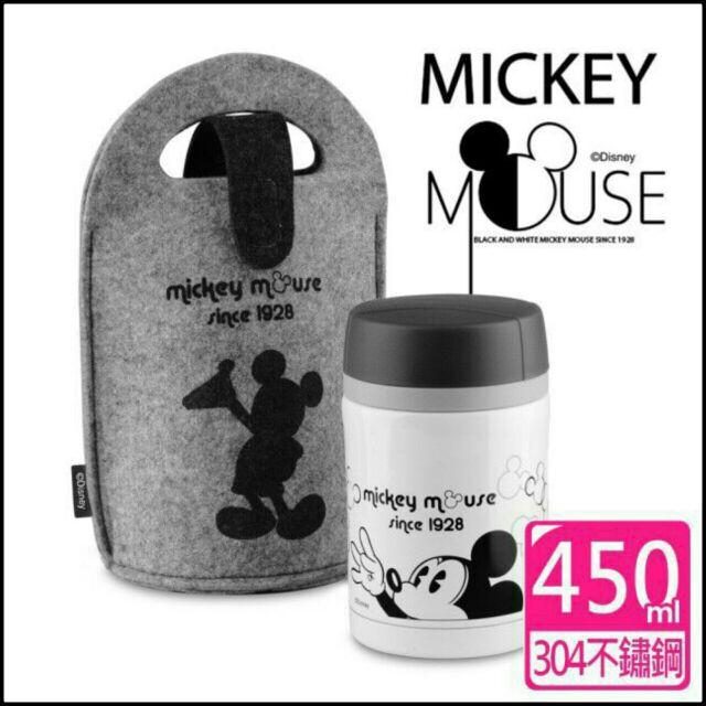 迪士尼米奇黑白 提袋燜燒杯450ml ~  ~內膽304 不銹鋼毛氈布提袋~ 品當日寄~