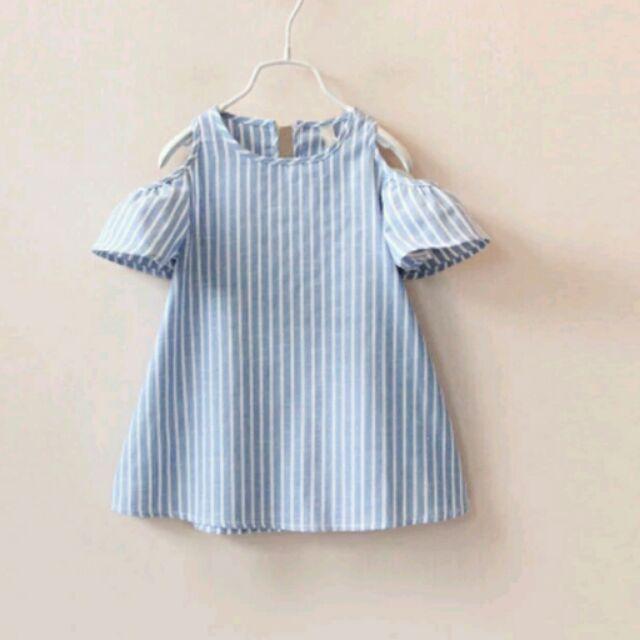 ~ 夏裝 女童 條紋洋裝上衣短袖娃娃裝韓風女童露肩連身洋裝連衣裙