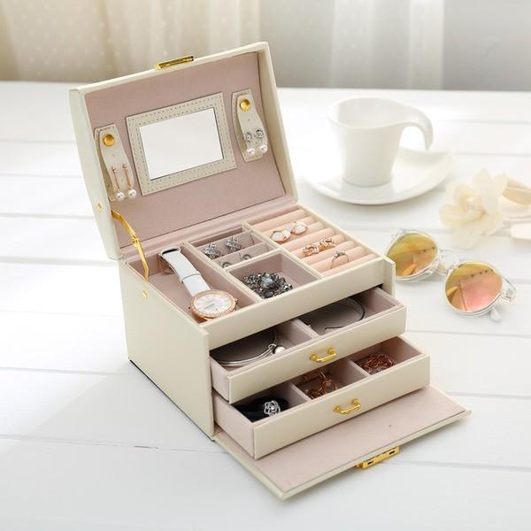 多層首飾盒韓國木質帶鎖首飾收納盒高檔珠寶戒指飾品盒