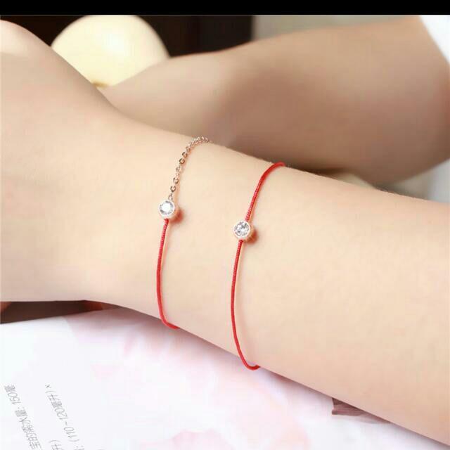 ~ ~韓國 Redline 明星同款雜誌 款單鑽手鍊紅繩鈦鋼鍍18K 銀色玫瑰色手鍊腳鍊