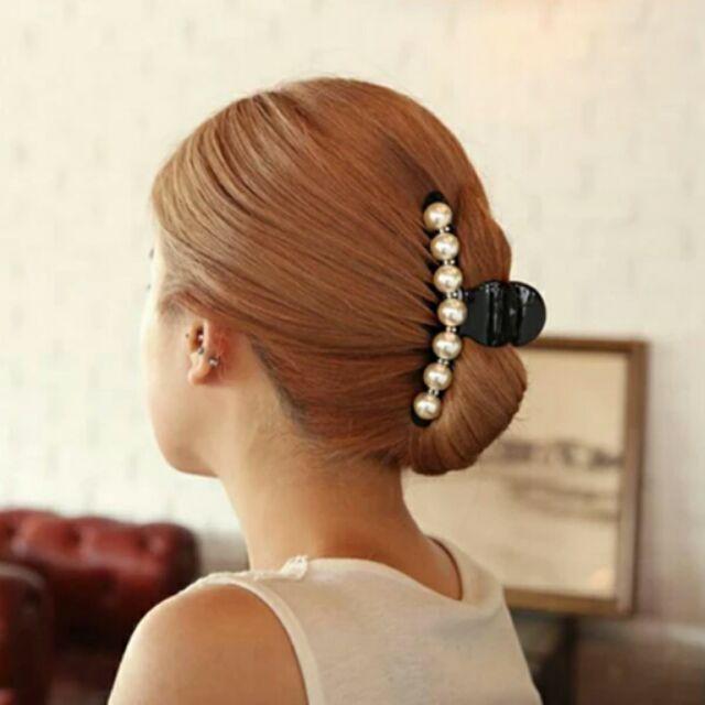 韓國髮飾復古優雅珍珠水鑽大号盤髮抓夾3 2