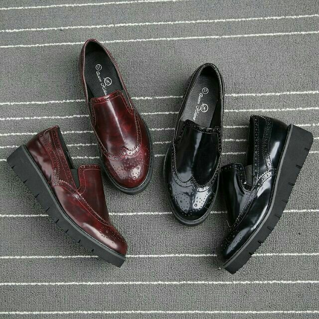 大 牛津鞋厚底松糕鞋高跟厚底百搭英倫低跟學院風牛津鞋 學院風平底牛津鞋復古牛津鞋皮革素面懶
