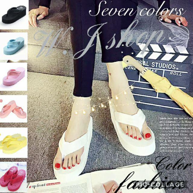 W J shop 馬卡龍色系楔形人字拖防滑厚底松糕沙灘鞋坡跟拖鞋夾腳拖