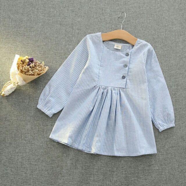 ~ 清新日系上衣細條紋格子裙女童連身裙長袖一件式洋裝 秋裝 小清新文藝條紋娃娃裙寬鬆裙子