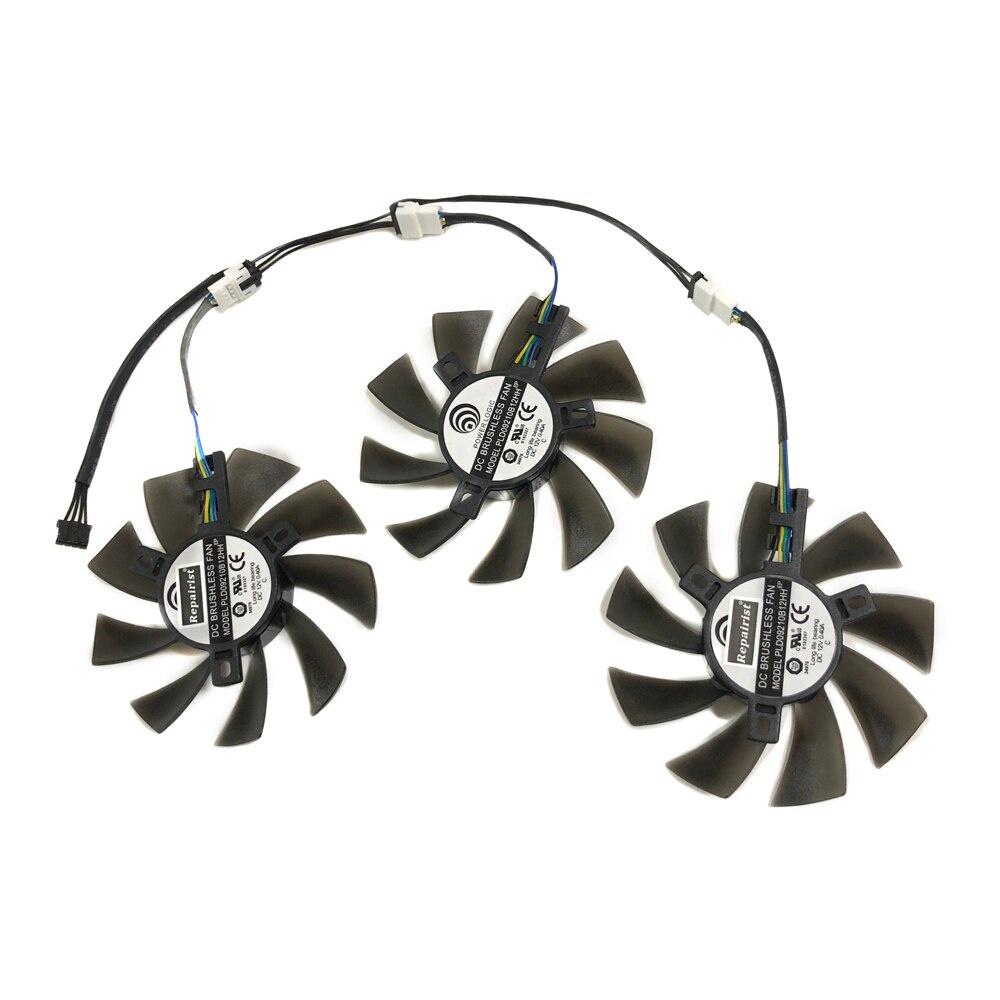 3pcs / set GTX 980TI / 1080TI GPU 冷卻風扇 PLD09210B12HH 適用於 MSI