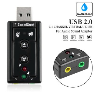 免驅動USB2.0外部音效卡 3D立體虛擬7.1聲道 USB外置聲卡 3.5mm 插頭轉換器 麥克風喇叭耳機 環繞立體聲