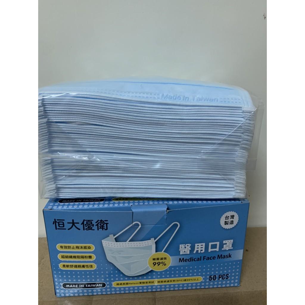 「現貨」恒大優衛醫用口罩 國家隊醫療口罩 50片/盒 恆大醫用口罩(藍)