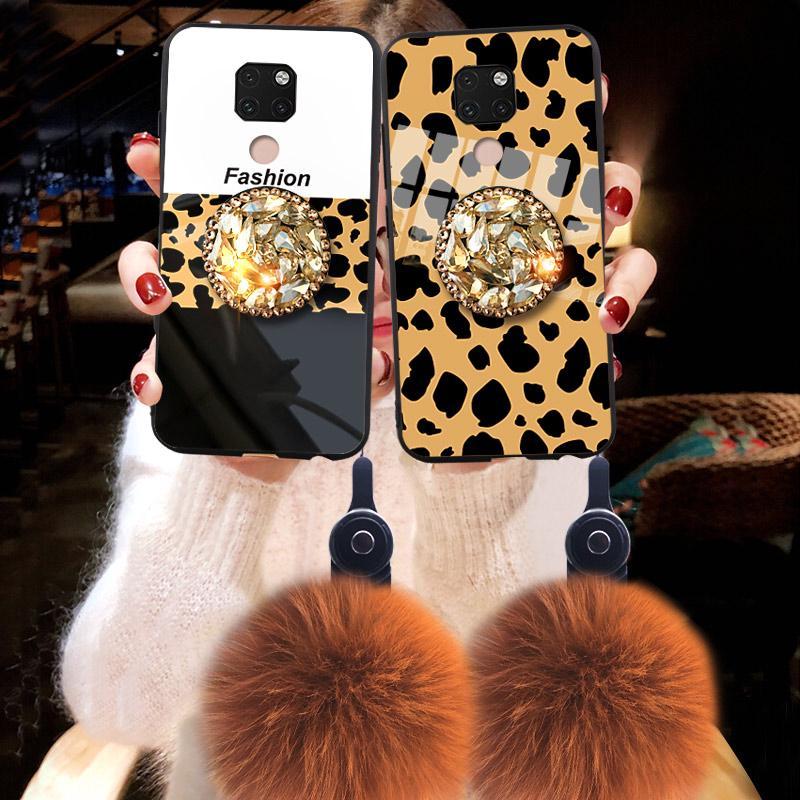 適用於華為Mate 20 /  Mate 20 Pro Case豹紋鑽石支架毛球軟套