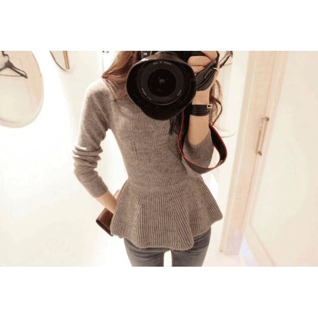 秋冬縮腰荷葉邊裙襬針織上衣