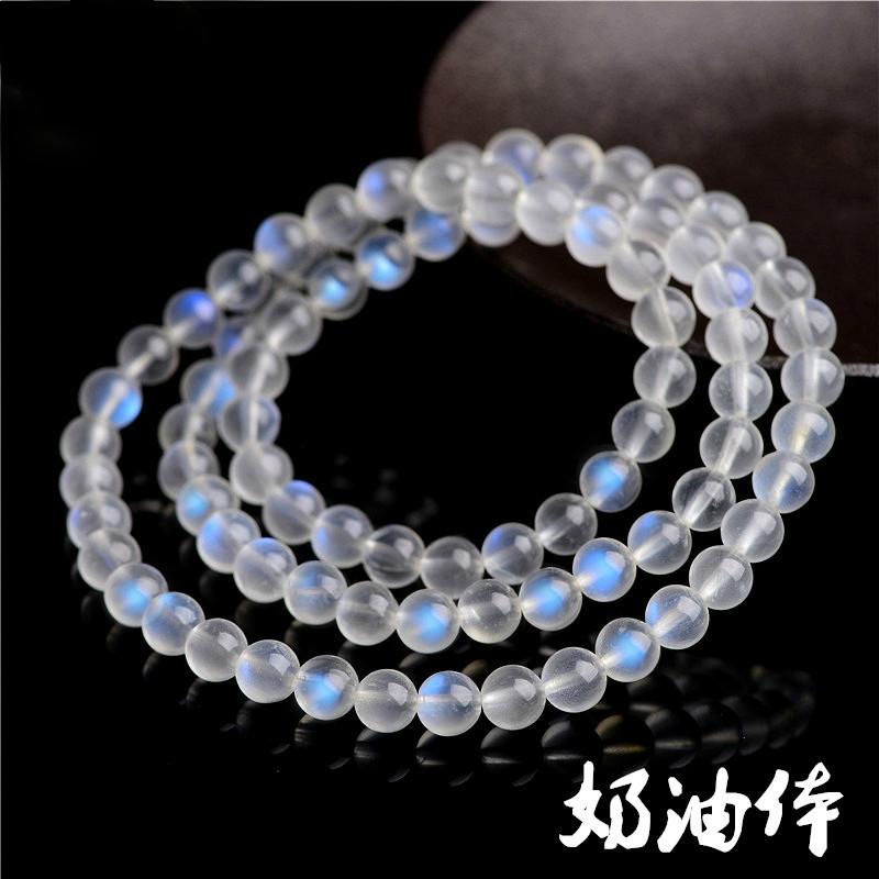 【靈通珠寶】天然奶油體藍月光手鍊 清新藍色月光石手鍊 手珠