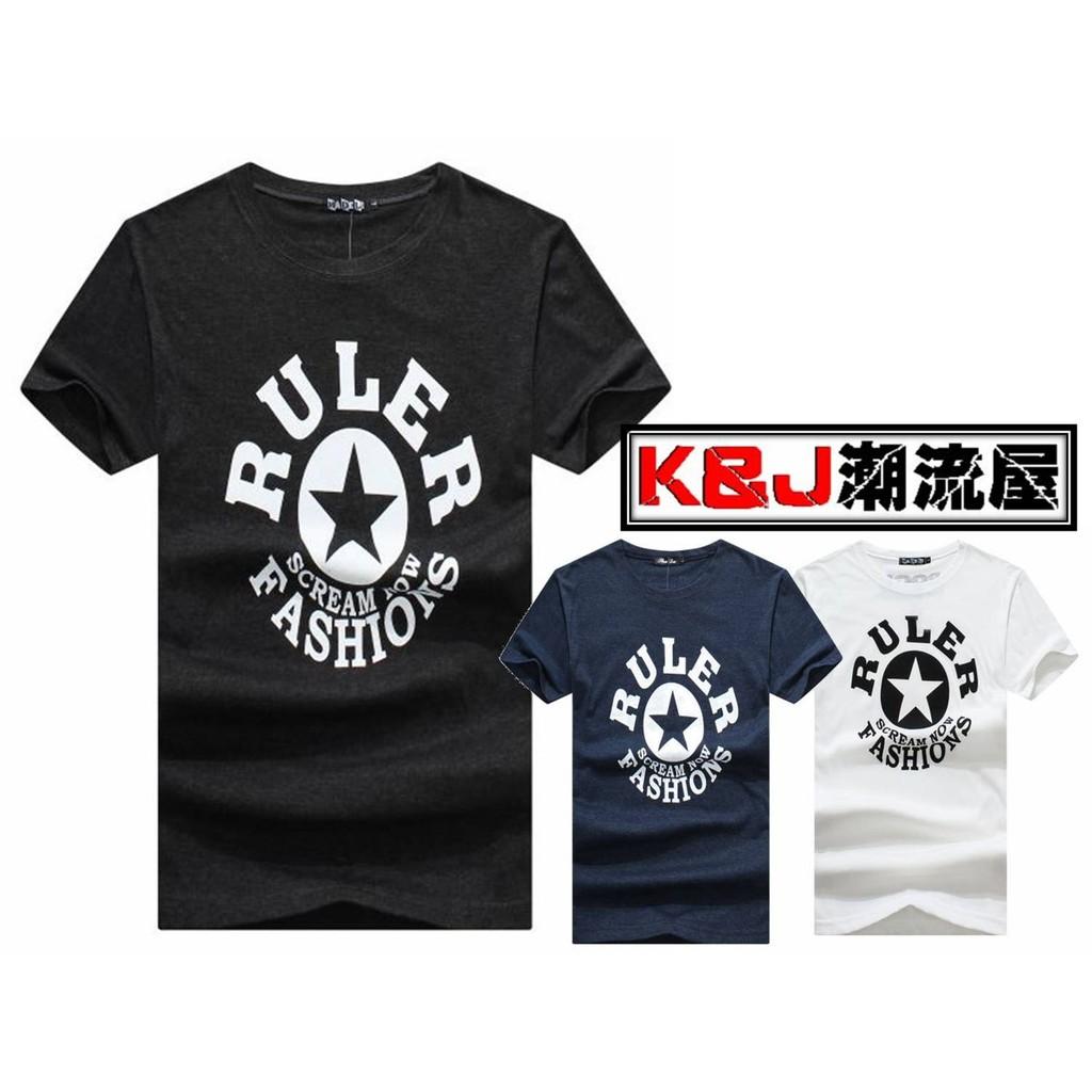 ★K&J★潮流RULER五角星印花設計短T 3色 【M10003】現貨
