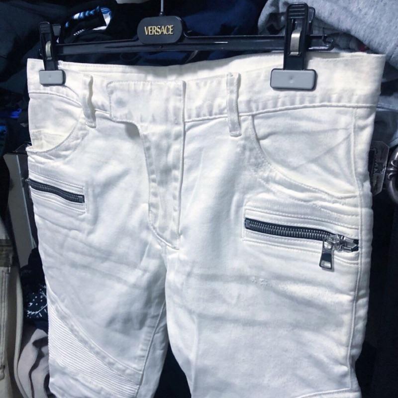 Balmain 巴曼 白色做舊 機車褲 騎士牛仔褲