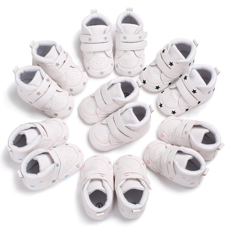 新款秋款0-1歲男女寶寶高幫休閒運動軟底鞋嬰兒學步鞋舒適防滑 學步鞋 寶寶鞋 童鞋