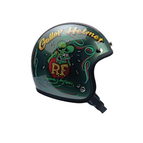 【MOONEYES】 Gallop X Rat Fink 老鼠芬克 聯名限定安全帽窄版小帽體 橄欖綠下單處