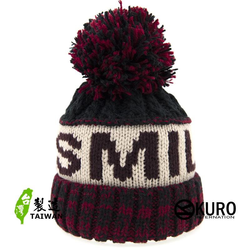 KURO-SHOP針織帽 桃紅、深藍 字母 保暖 球球 針織帽