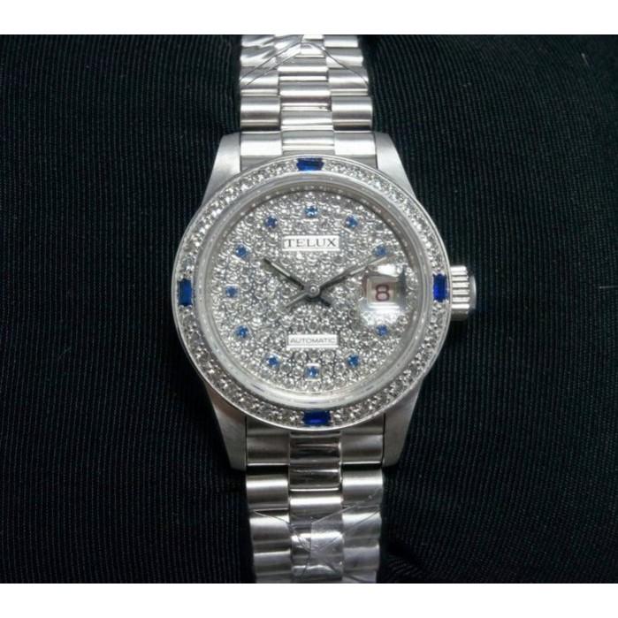 【神梭鐘錶】TELUX WATCH (瑞士自動上鍊eta2671機蕊)勞力士款高級滿天星精鑽面三珠女妝機械腕錶