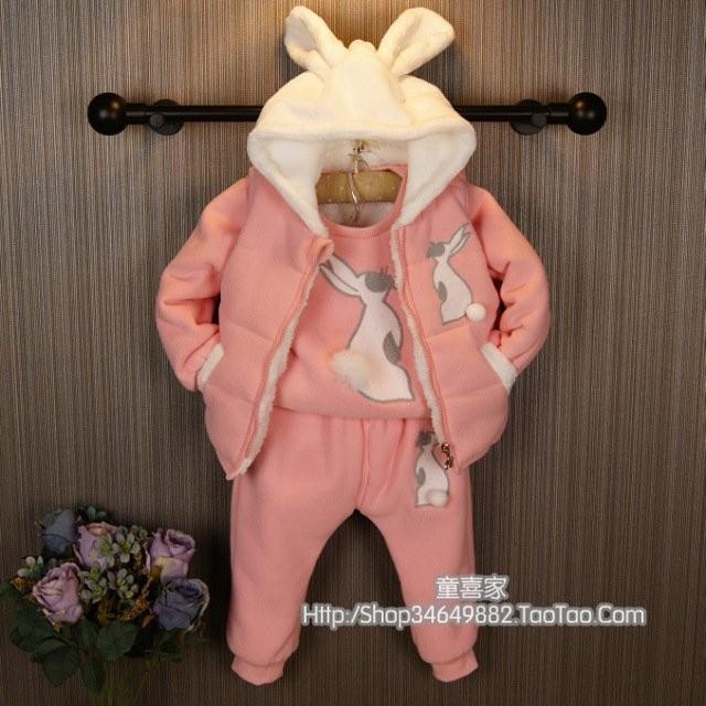秋冬新款- 兔子三件式加绒加厚套裝-(粉紅)休閒套裝 運動套裝-現貨